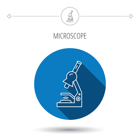 criminology: Microscope icon. Medical laboratory equipment sign. Pathology or scientific symbol. Blue flat circle button. Linear icon with shadow. Vector