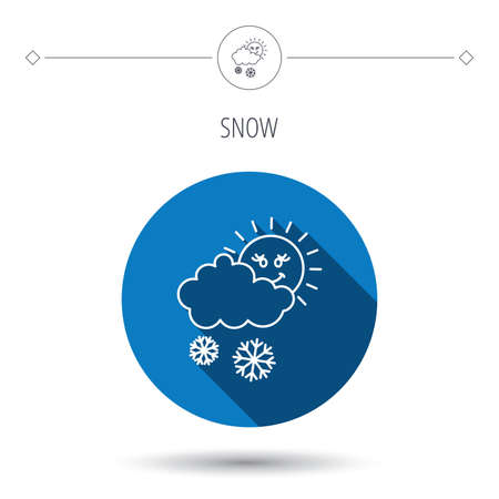 meteorology: Snow with sun icon. Snowflakes with cloud sign. Snowy overcast symbol. Blue flat circle button. Linear icon with shadow. Vector Illustration
