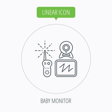 nanny: Baby monitor icon. Video nanny for newborn sign. Radio set with camera and tv symbol. Linear outline circle button. Vector Illustration