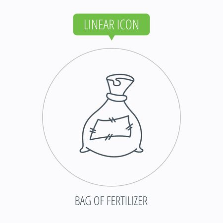 phosphate: Bag with fertilizer icon. Fertilization sack sign. Farming or agriculture symbol. Linear outline circle button. Vector
