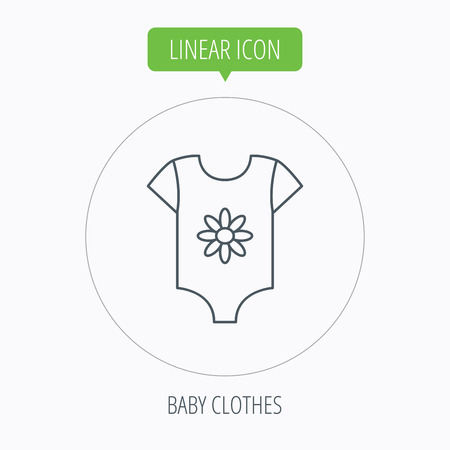 tot: Newborn clothes icon. Baby shirt wear sign. Flower symbol. Linear outline circle button. Vector Illustration