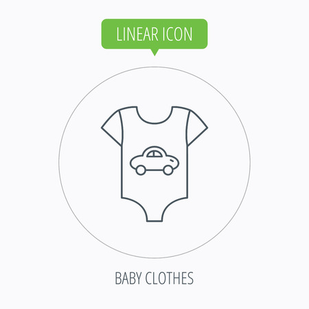 romper: Newborn clothes icon. Baby shirt wear sign. Car symbol. Linear outline circle button. Vector Illustration