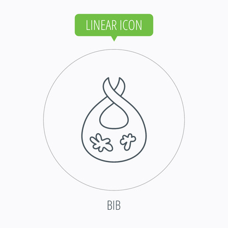 dirty clothes: Bib with dirty spots icon. Baby clothes sign. Feeding wear symbol. Linear outline circle button. Vector