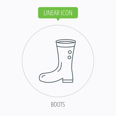 wellies: Boots icon. Garden rubber shoes sign. Waterproof wear symbol. Linear outline circle button. Vector