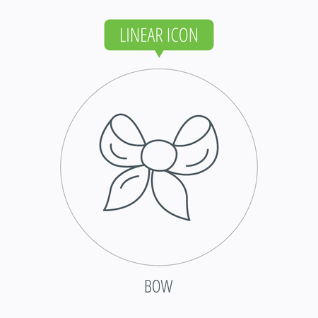 tied girl: Gift bow icon. Present decoration sign. Ribbon for packaging symbol. Linear outline circle button. Vector