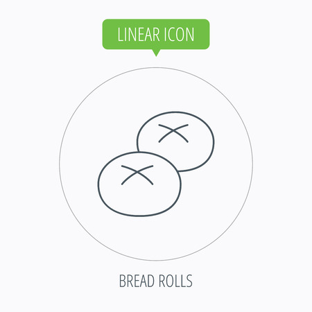 enriched: Bread rolls or buns icon. Natural food sign. Bakery symbol. Linear outline circle button. Vector