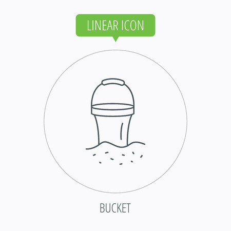 beach game: Bucket in sand icon. Trash bin sign. Child beach game symbol. Linear outline circle button. Vector