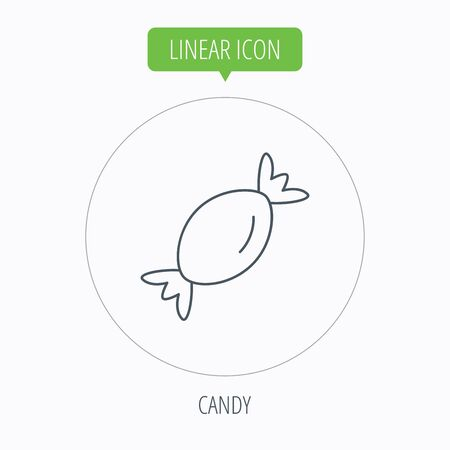 spearmint: Candy icon. Sugar lollipop sign. Sweet food symbol. Linear outline circle button. Vector