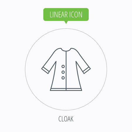 outerwear: Cloak icon. Protection jacket outerwear sign. Gardening clothes symbol. Linear outline circle button. Vector