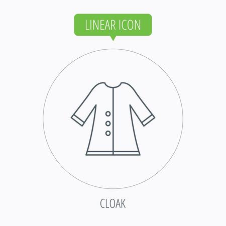 outerwear: Icona Mantello. Giacca Protezione outerwear segno. Giardinaggio abiti simbolo. Pulsante lineare contorno cerchio. Vettore