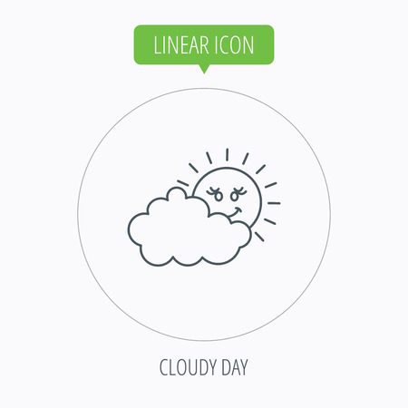 overcast: Cloudy day with sun icon. Overcast weather sign. Meteorology symbol. Linear outline circle button. Vector