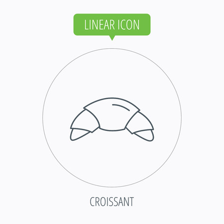french bakery: Croissant icon. Bread bun sign. Traditional french bakery symbol. Linear outline circle button. Vector