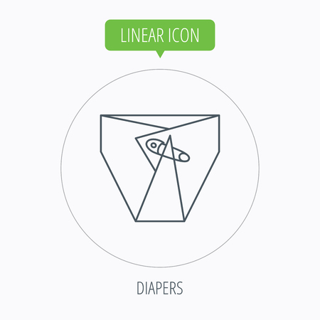 diaper pin: Diaper with pin icon. Child underwear sign. Newborn protection symbol. Linear outline circle button. Vector Illustration
