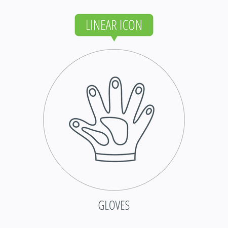 cleaning equipment: Construction gloves icon. Textile hand protection sign. Housework cleaning equipment symbol. Linear outline circle button. Vector Illustration