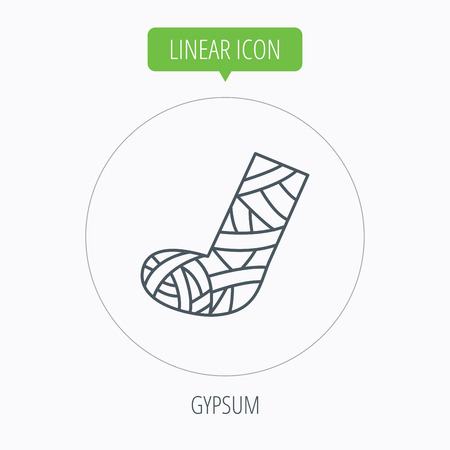 Gypsum or cast foot icon. Broken leg sign. Human recovery medicine symbol. Linear outline circle button. Vector Illustration