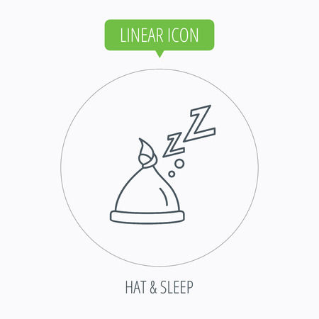 nodule: Baby hat with nodule icon. Newborn cap sign. Toddler sleeping clothes symbol. Linear outline circle button. Vector