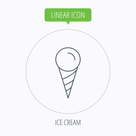 frozen dessert: Ice cream icon. Sweet dessert in waffle cone sign. Frozen food symbol. Linear outline circle button. Vector