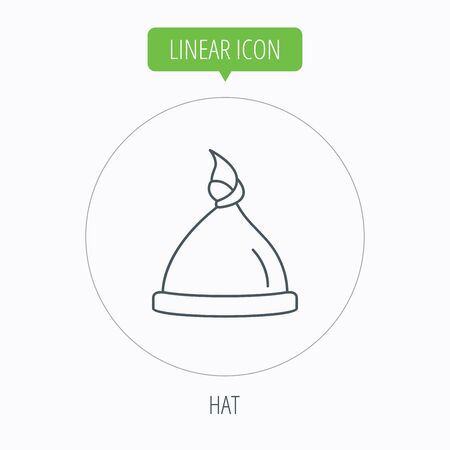 nodule: Baby hat icon. Newborn cap sign. Toddler sleeping clothes symbol. Linear outline circle button. Vector