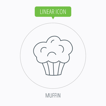 puff pastry: Muffin icon. Cupcake dessert sign. Bakery sweet food symbol. Linear outline circle button. Vector