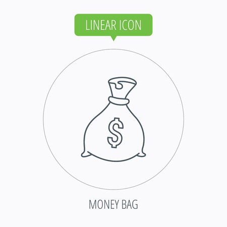 tare: Sack with dollars icon. Money bag sign. Banking symbol. Linear outline circle button. Vector Illustration