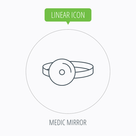 otorhinolaryngology: Medical mirror icon. ORL medicine sign. Otorhinolaryngology diagnosis tool symbol. Linear outline circle button. Vector Illustration