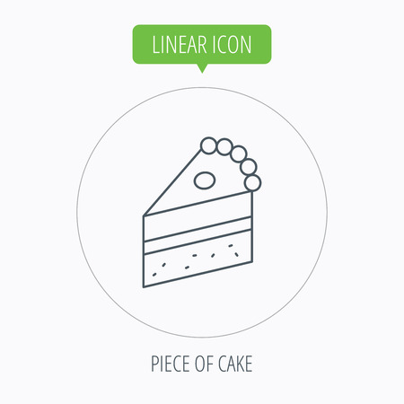 piece of cake: Piece of cake icon. Sweet dessert sign. Pastry food symbol. Linear outline circle button. Vector