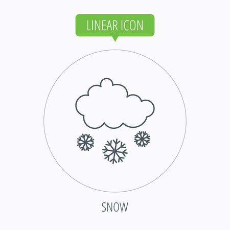 overcast: Snow icon. Snowflakes with cloud sign. Snowy overcast symbol. Linear outline circle button. Vector Illustration