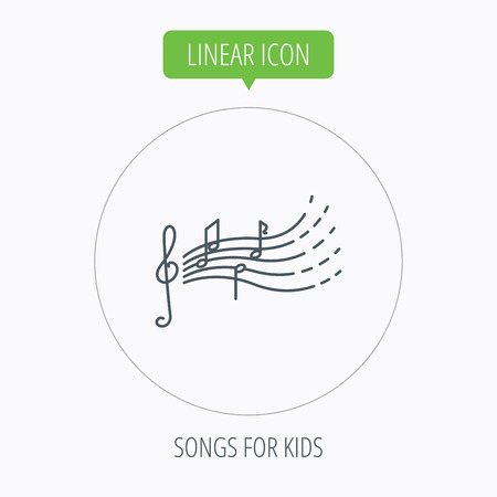 gclef: Songs for kids icon. Musical notes, melody sign. G-clef symbol. Linear outline circle button. Vector