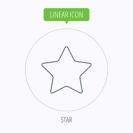 favorites: Star icon. Add to favorites sign. Astronomy symbol. Linear outline circle button. Vector Illustration