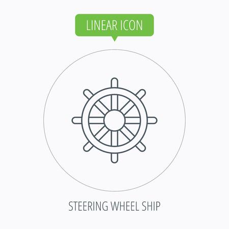 rudder ship: Ship steering wheel icon. Captain rudder sign. Sailing symbol. Linear outline circle button. Vector