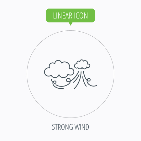 the tempest: Wind icon. Cloud with storm sign. Strong wind or tempest symbol. Linear outline circle button. Vector Illustration