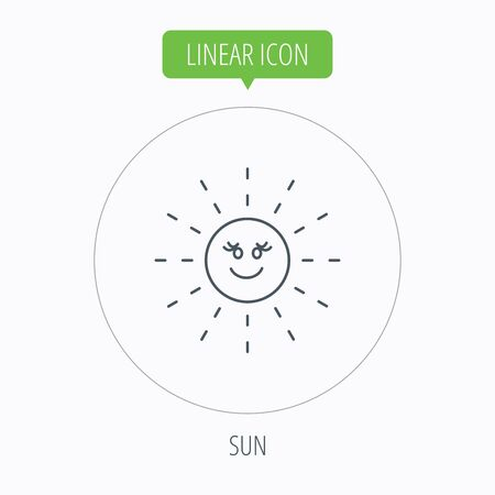 hot weather: Sun rays icon. Summer sign. Hot weather symbol. Linear outline circle button. Vector Illustration
