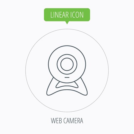 web cam: Web cam icon. Video camera sign. Online communication symbol. Linear outline circle button. Vector