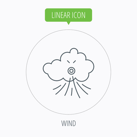 tempest: Wind icon. Cloud with storm sign. Strong wind or tempest symbol. Linear outline circle button. Vector Illustration