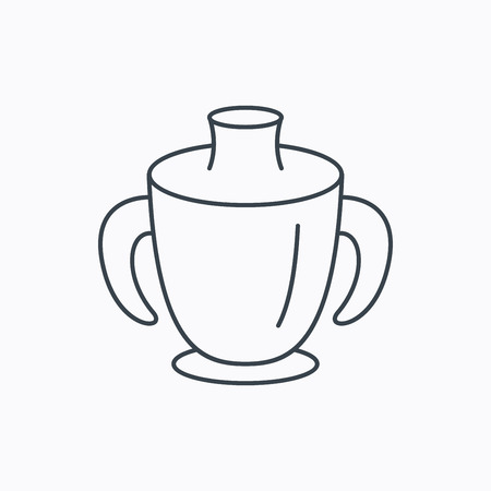 spout: Toddler spout cup icon. Baby mug sign. Flip top feeding bottle symbol. Linear outline icon on white background. Vector Illustration