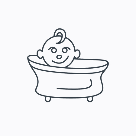 washing symbol: Baby in bath icon. Toddler bathing sign. Newborn washing symbol. Linear outline icon on white background. Vector Illustration