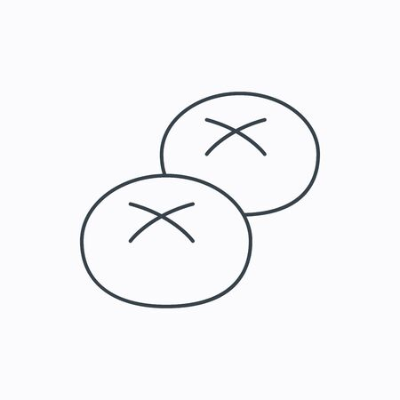 Bread rolls or buns icon. Natural food sign. Bakery symbol. Linear outline icon on white background. Vector