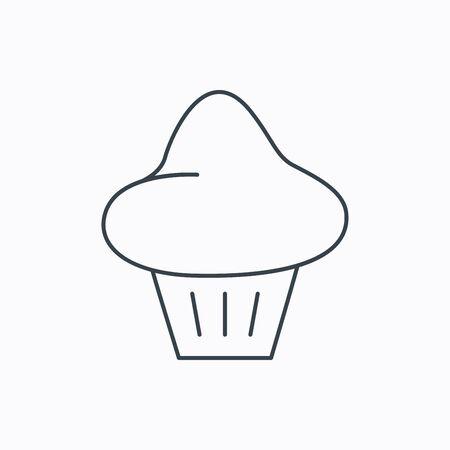 Brioche icon. Bread bun sign. Bakery symbol. Linear outline icon on white background. Vector