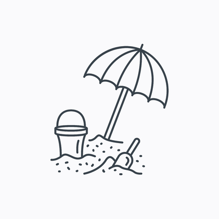 sand beach: Beach umbrella in sand icon. Bucket with shovel sign. Baby summer games symbol. Linear outline icon on white background. Vector