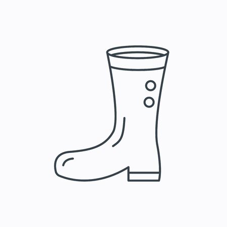 gumboots: Boots icon. Garden rubber shoes sign. Waterproof wear symbol. Linear outline icon on white background. Vector Illustration