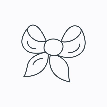 tied girl: Gift bow icon. Present decoration sign. Ribbon for packaging symbol. Linear outline icon on white background. Vector