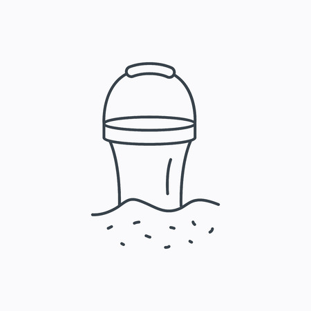 beach game: Bucket in sand icon. Trash bin sign. Child beach game symbol. Linear outline icon on white background. Vector