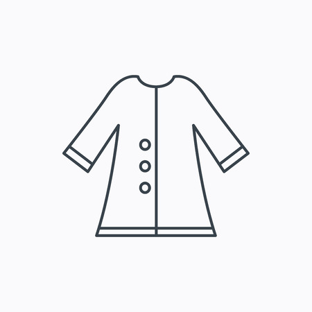 outerwear: Cloak icon. Protection jacket outerwear sign. Gardening clothes symbol. Linear outline icon on white background. Vector Illustration