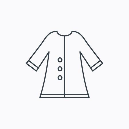 outerwear: Icona Mantello. Giacca Protezione outerwear segno. Giardinaggio abiti simbolo. Icona contorno lineare su sfondo bianco. Vettore