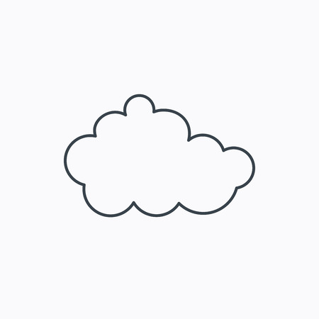 cartoon cloud: Cloud icon. Overcast weather sign. Meteorology symbol. Linear outline icon on white background. Vector