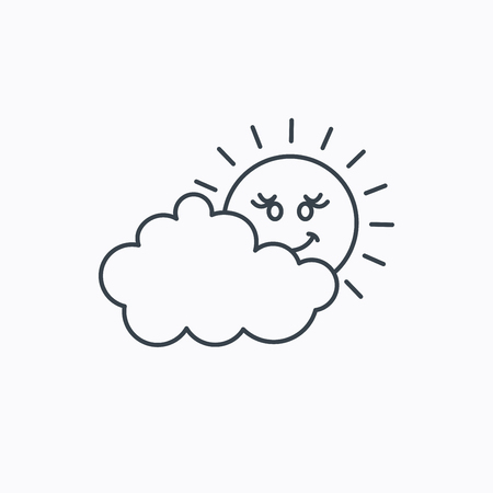 cloudy day: Cloudy day with sun icon. Overcast weather sign. Meteorology symbol. Linear outline icon on white background. Vector Illustration