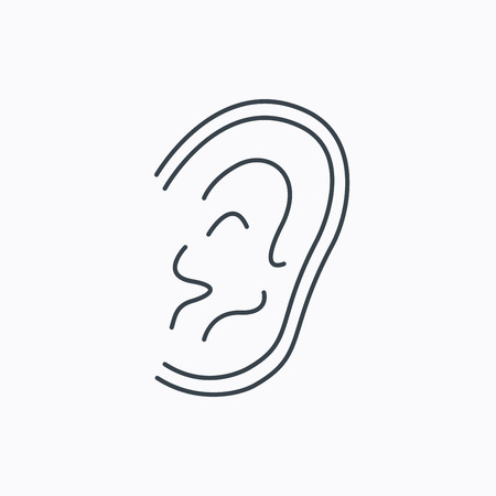 otorhinolaryngology: Icona Orecchio. Ascoltate o ascoltare segno. Sordi simbolo umano. Icona contorno lineare su sfondo bianco. Vettore
