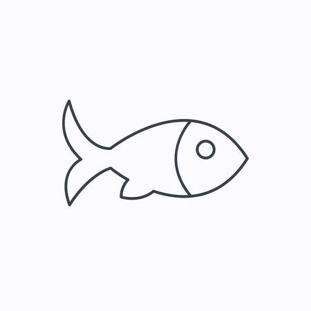 aquaculture: Fish with fin icon. Seafood sign. Vegetarian food symbol. Linear outline icon on white background. Vector