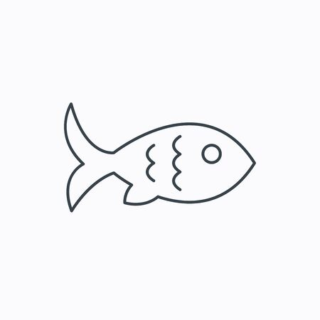 aquaculture: Fish with fin and scales icon. Seafood sign. Vegetarian food symbol. Linear outline icon on white background. Vector