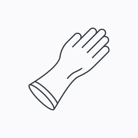cleaning equipment: Guanti di gomma icona. Latex segno protezione delle mani. Lavori di casa simbolo attrezzature per la pulizia. Icona contorno lineare su sfondo bianco. Vettore Vettoriali